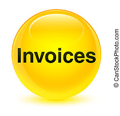 Invoices glassy yellow round button