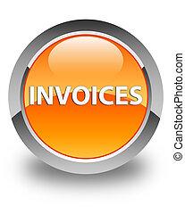 Invoices glossy orange round button