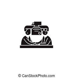 Involvement black vector concept icon. Involvement flat illustration, sign