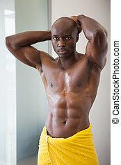 involvere, asciugamano, muscolare, giallo, uomo
