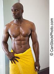 involvere, towe, muscolare, giallo, uomo