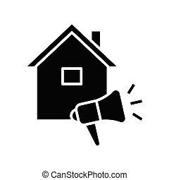 inwentaryzacja, pojęcie, symbol, glyph, dom, wektor, ilustracja, ikona, płaski, czarnoskóry, poznaczcie.