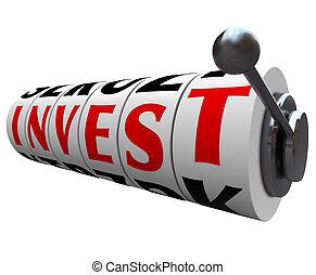 inwestować, słowo, automat, koła, -, ryzykowny, lokata