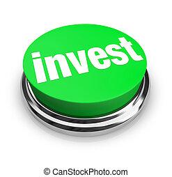 inwestować, -, zielony, guzik