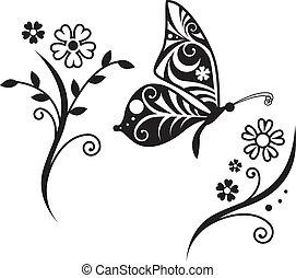 inwrought, vlinder, silhouette, en, bloem, tak