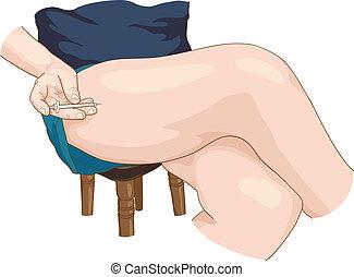 inyección insulina, en, un, leg.