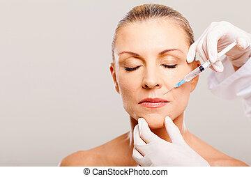 inyección, mujer, cosmético, maduro