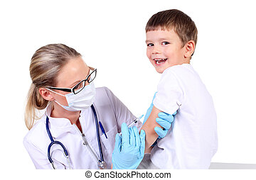 inyección, niño, vacuna, doctor
