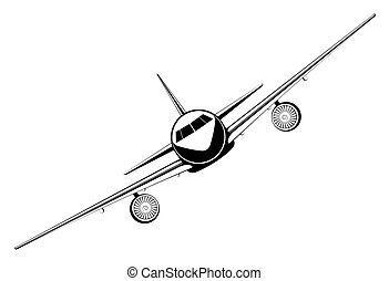 inzittende aircraft, schets, straalvliegtuig
