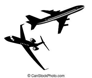 inzittende aircraft, twee