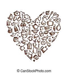 io, amore, cooking!, utensili cucina, schizzo, forma cuore,...