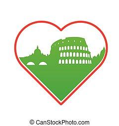io, amore, italia, sagoma