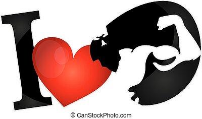 io, amore, muscoli, simbolo