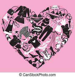 io, amore, shopping, immagine, cuore, è, fatto, di,...