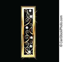 io, oro, lettera, con, swirly, ornamenti