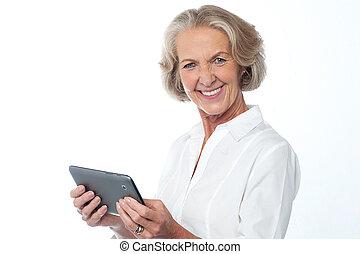 io, prendere, mio, nuovo, digitale, tablet.