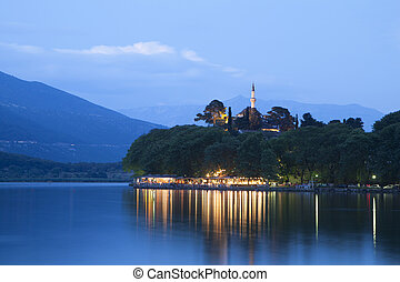 Ioannina city in Greece. View of the lake and the mosque