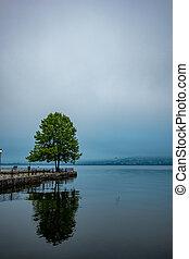 Ioannina, Greece, lake morning with fog reflections