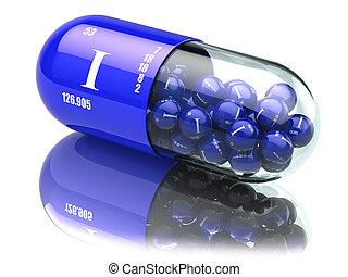 Iodine I element pills. Dietary supplements. Vitamin capsules.