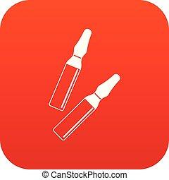 iodo, varas, ícone, digital, vermelho