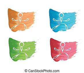 ioga, algum, logotipo