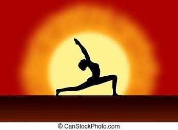 ioga, amanhecer, fundo