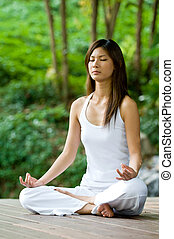 ioga, ao ar livre