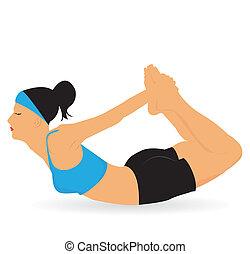 ioga, conceito, vetorial
