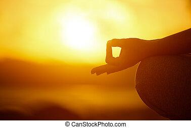 ioga, concept., mão, mulher, prática, pose lotus, ligado, praia
