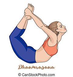 ioga, dhanurasana, pose., arco, silhouette., mulheres