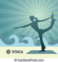 ioga, e, pilates, fundo