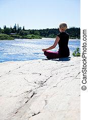 ioga, em, natureza, -, loto