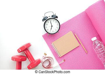 ioga, espaço, topo, relógio, equipments, caderno, fundo, condicão física, branca, cópia, alarme, vista
