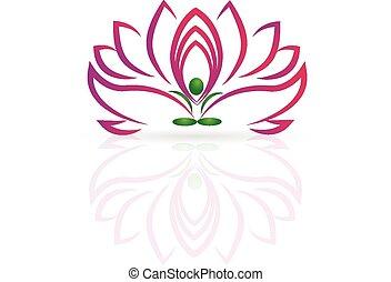 ioga, flor lotus, logotipo