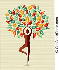 ioga, folha, coloridos, árvore