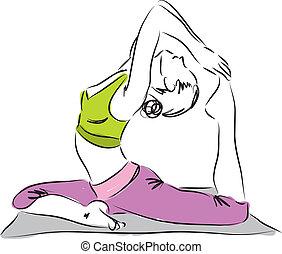 ioga, ilustração, postura