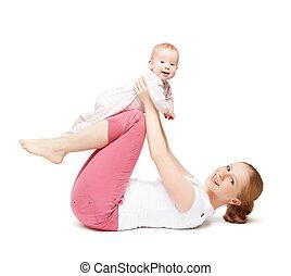 ioga, isolado, bebê, mãe, exercícios, ginástica