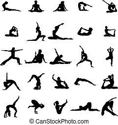 ioga, jogo, silueta