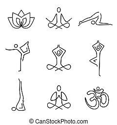 ioga, linha arte, ícones