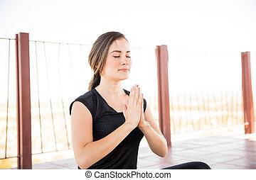 ioga, meditação, em, centro aptidão