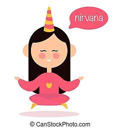 ioga, meditar, ar., vetorial, menina, logo.