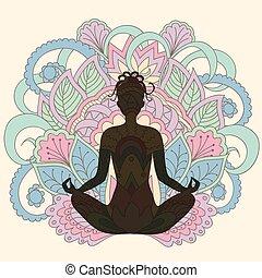 ioga, menina, ligado, loto, fundo