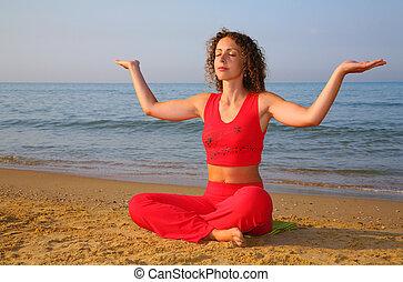 ioga, menina, ligado, praia