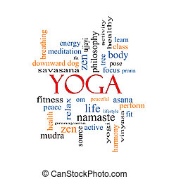 ioga, palavra, nuvem, conceito