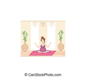 ioga, para, mulher grávida