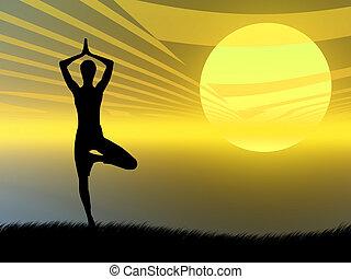 ioga posa, em, pôr do sol