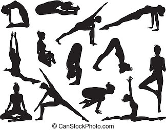 ioga posa, mulheres, silhuetas