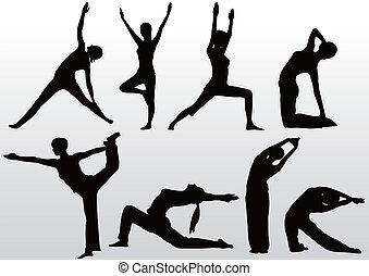ioga posa, silueta, mulheres