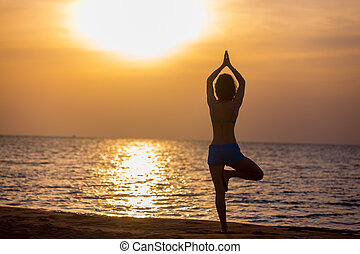 ioga, pose árvore