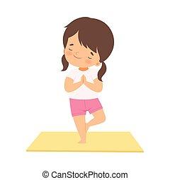 ioga, pose, criança, ativo, ilustração, adorável, árvore, saudável, vetorial, menina, estilo vida, cute, prática